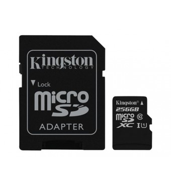 KINGSTON 256GB microSDXC Class 10 UHS-I 45MB/s Read Card + SD Adapter