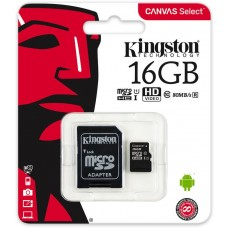 KINGSTON 16GB micro SDHC Card Class 10 + SD adapter