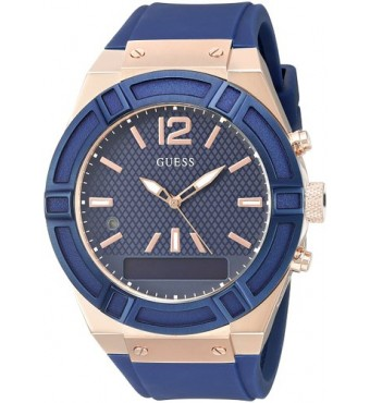 GUESS Watch 45mm Smooth silicone strap Blue