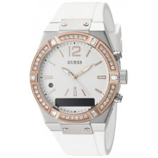 GUESS Watch Crystal 41mm Smooth silicone strap White